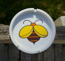 Bumble Bee Logo Yellow Orange Brown Black Ceramic Ash Tray Honey Insect Bug