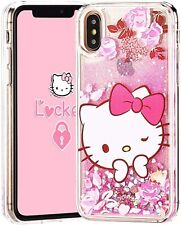 iPhone X XS MAX XR - Floating Water Liquid Glitter Rubber Case Pink Hello Kitty