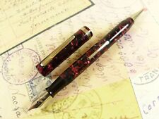 Burgundy Marble Arnold Fountain Pen Pencil Combo - restored