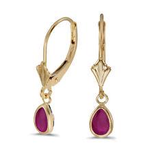 14k Yellow Gold Pear Ruby Bezel Lever-back Earrings