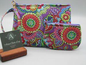 Boho Floral Purse Set Handmade Boho Clutch Boho Wristlet, Zipper in Purple