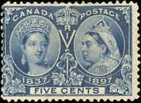 1897 Mint NG Canada VG-F BLUE DOT in R Scott #54 5c Diamond Jubilee Stamp