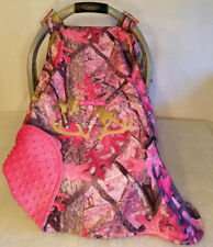 Car Seat Canopy Cover Up Sassy Girl Pink Camo Baby Infant Pink Minky Embroidery