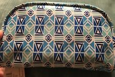 Basics Make up bag pouch Blue Geometric Shapes Designs Pattern New With Tag