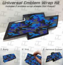 (2) Universal Chevy BLUE CAMO Bowtie Emblem Overlay Wrap Kit - Silverado Tahoe