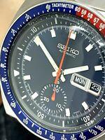 Seiko Men's Watch Pepsi Bezel 6139-6005 Automatic Vintage Chronograph Blue Dial