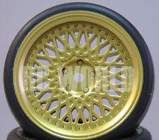 RC Car 1/10  DRIFT WHEELS TIRES Package 3MM Offset  GOLD Flat  *SET OF 4*