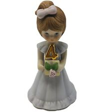 Enesco Brunette Growing Up Birthday Girl Age 4 Porcelain Figurine Collectible C1