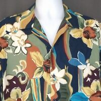 Hilo Hattie Hawaiian Shirt Large Rayon Floral Hibiscus Matching Pocket Aloha