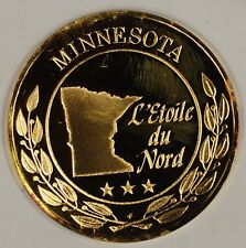 """Gold Plated Sterling Silver Proof Medal Minnesota """"L'etoile Du Nord"""" In Case"""