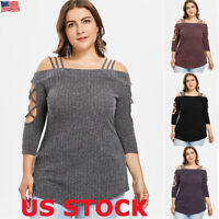 Womens Long Sleeve Sweater Blouse Ladies Knitted Jumper Pullover Tops Plus Size
