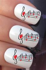 Agua De Uñas transferencias Amor Corazón Notas Musicales Partituras Calcomanías Stickers * 368
