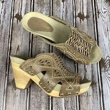 Earthies RIVIERA Leather Clog Mule Sandal Sz 7B