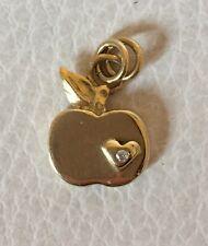 £ 575 Sophie HARLEY solido 18 KT ORO Mela & Cuore Collana di diamanti ciondolo charm