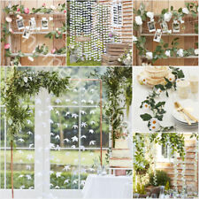 White Pink Artificial Flowers Foliage Garland Backdrop Rustic Wedding Decoration