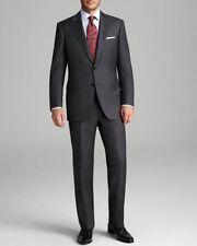 $2885 CANALI Charcoal Gray Italian Wool Suit Men's 36S (EU 46 C) Flat Front Pant