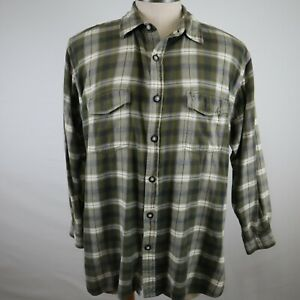True Grit Men's Green Plaid Long Sleeve Button Up Flannel Shirt Size Large