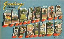 1941 Saratoga Springs New York large letters multi View Tichnor postcard 6394