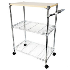 3-Tier Rolling Kitchen Trolley Cart Island Rack Basket Shelf Stand Workstation