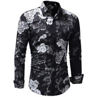 Fashion Mens Luxury Stylish Floral Slim Fit Long Sleeve Dress Shirt Casual Tops