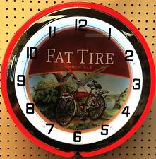 "18"" FAT TIRE Amber Ale Sign Double Neon Clock"
