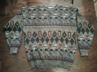 Vintage 90s Multi Color Michael Gerald Biggie Smalls Cosby Sweater Mens Size XLT
