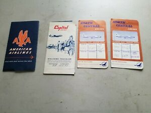 Vintage American, North Central & Capital Airlines Ticket Jackets Bag Tag Pass