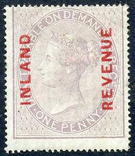 1860 Postal fiscal Hacienda 1d aburrido lila rojizo en papel azulado SG F8 MH