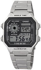 Casio Men's Digital 100m LED World Time Stainless Steel Watch AE1200WHD-1A