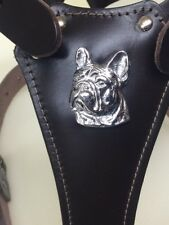 Leather dog harness for French bulldog