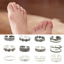 WL 12PCs set Celebrity Jewelry Retro Silver Adjustable Open Toe Ring Finger Foot