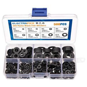 Thick Flat Black Nylon Washers Plastick rubber  Form M2,M2.5,M3,M4 M5,M6 M8,M10
