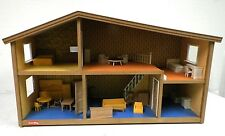 VINTAGE LUNDBY OF SWEDEN DOLLHOUSE WITH 30 PIECES DOLL FURNITURE USED