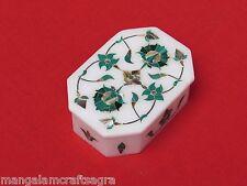 Marble Jewelry Box Malachite Inlay Pietra Dura Work Handmade Home Decor