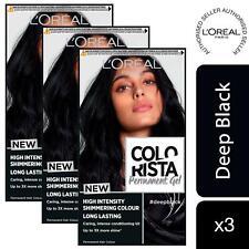 3 Pack L'Oreal Paris Colorista Hair Colour Deep Black Permanent Gel Hair Dye