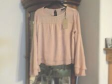 $61 Halogen Satin Sleeve Blouse Bell Sleeves SZ S  blush color  NWT