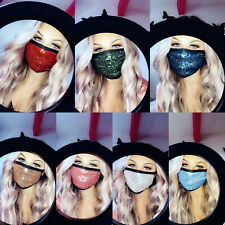 Sequin Face Mask - 7 Colours - Small Fitting - Double Layer - Sparkly Face Masks