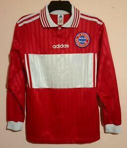 BAYERN MUNICH FOOTBALL CLUB 1990s RED L/S HOME SHIRT ELBER 9 ADIDAS NO SPONSOR M