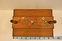 Wooden Napkin Holder Strawberries Hand Painted Top Farmhouse Rustic Vintage