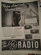 1937 General Electric Radio Tone Monitor Original PRint Ad