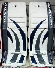 "New Powertek Barikad Jr goalie leg pads blue/silver 28"" junior ice hockey goal"