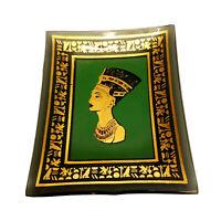 "Queen Nefertiti Small Trinket Dish-Vintage-Green/Gold-3.25""x2.75""-Home Decor"