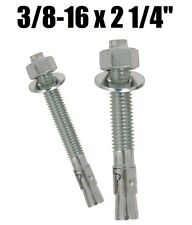 "(Qty 25) 3/8-16 x 2-1/4"" Concrete Wedge Anchor Zinc Plated"