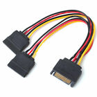 15 Pin Sata Male to 2 Sata Female Power Splitter Adapter Cable Durable Useful