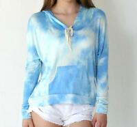 BNWT Womens Size 8,10 Blue White Sky Bohemian Tie Dye Light Hoodie Top Blouse