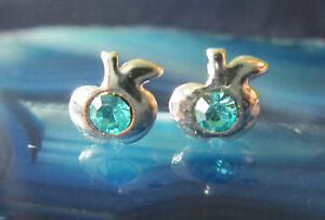 Studs Apple Silver U Crystal Light Blue Turquoise Symbol For Eternal Youth