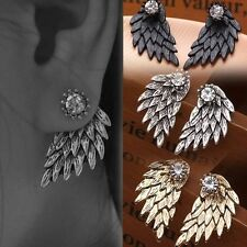New Fashion Gothic Women Cool Jewelery Angel Wings Rhinestone Stud Earrings