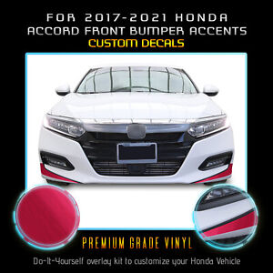For 2017-2021 Accord Front Bumper Fangs Accent Graphic Decal - Brushed Aluminum