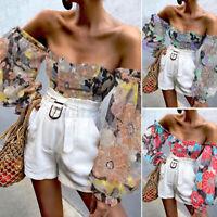 Long Sleeve Shirt Top Blouse Clubwear Women T-Shirt Floral Off Shoulder Tee Plus