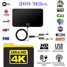 Antenna Digital HD TV Amplified Mile Ultra Thin 200 Miles Range Indoor 1080P 4K